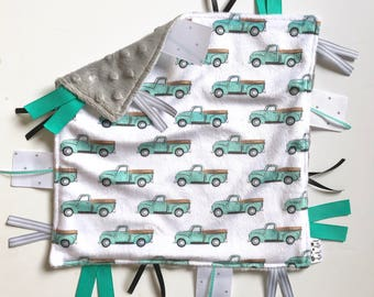 Vintage Trucks - Baby Boy Toy + tag lovey sensory security blanket gray minky - turquoise blue black