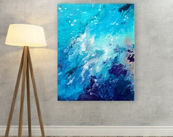 Blue Canvas Print - Blue & White Abstract Marbled Canvas Picture - Blue Marbled Abstract Wall Art - Blue and White Abstract Fluid Wall Art
