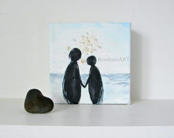 CLEARANCE Wedding Gift Art Block, Holding Hands-Geode Crystal & Acrylic Mixed Media Painting-Beach Wedding Decor