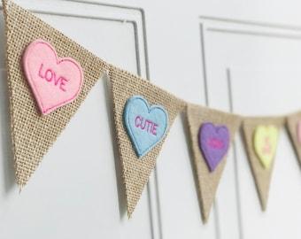 Conversation Heart Banner - Valentines Day Decor - Valentines Day Banner - Valentine Garland - Valentine Photo Prop - Mini Burlap Banner