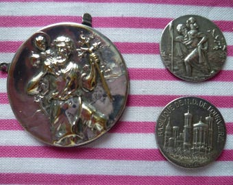 Three French silver St Christopher religious medal faces for crafts/embellishments