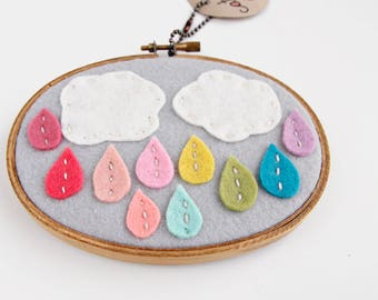 Nursery Wall Art / Rain Cloud with Rainbow Drops / Embroidery Hoop Art / Gift for Baby / Gifts Under 50 / Felt Hoop Art / Cloud Wall Art