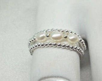 Real 14kt White Gold Toe Ring White Pearl Toe Ring Stackable Toe Ring 14kt White Gold Thumb Ring Real 14kt Gold Toe Ring BuyAny3+Get1Free