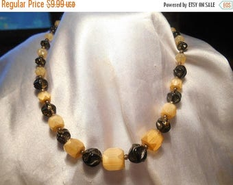 50% Off Sale Western Germany Signed Vintage Yellow Glass and Black Irregular Bead Choker Necklace