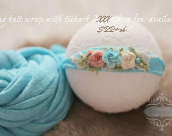 CREARANCE Ready To Ship, newborn photography prop, aqua bright blue stretch wrap and flower tieback set, prop layering, photography prop