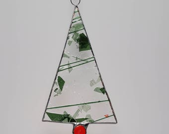 Holiday Tree ornament Christmas stained glass suncatcher