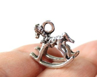 15% OFF - 3 Rocking Horse Charms Antique Silver Tone 2 sided 3D - CH291