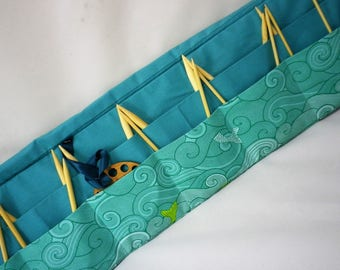 Circular Knitting Needle Case. Wave and fish fabric.