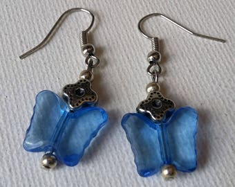 Blue Acrylic Butterfly and silver flower earrings