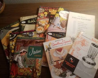 Set of 9 1950's and 1960's cooking magazines/booklets.