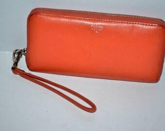 Vintage  Fossil orange leather wallet clutch wristlet organizer Fossil  Vintage  Multi Pocket Wallet Coin Purse