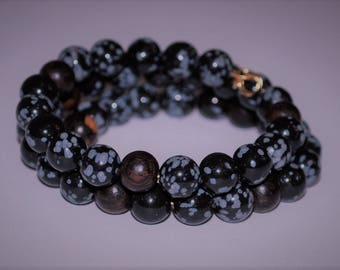Snowflake Obsidian Memory Wire Bracelet, Meditation Bracelet, Wood Bead Bracelet, Healing Stone Bracelet, Unisex Bracelet