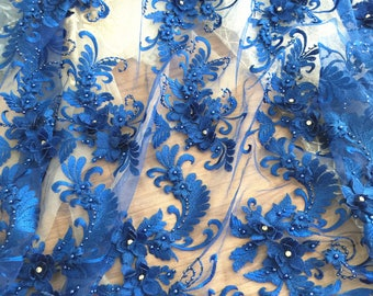 Lux 3D Pearl Beaded Blossom Floral Embroidery Lace Fabric in Royal Blue by Yard , Haute Couture Bridal Wedding Gown Fabric Accessories