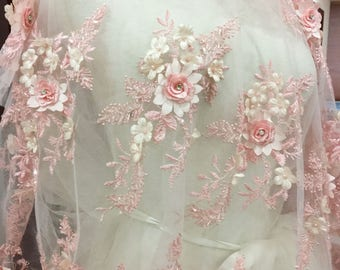 E 3D Floral Lace Embroidery Bridal Applique Beaded Pearl Tulle Wedding Vintage