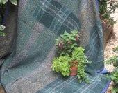 Indigo vintage kantha quilt, Kantha throw, Sari blanket, Denim blue kantha quilt, Yellow Sari throw, Kantha blanket,Boho throw