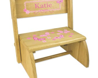 Personalized Natural Flip and Folding Step Stool with Pink Butterflies Design-stoo-nat-300a