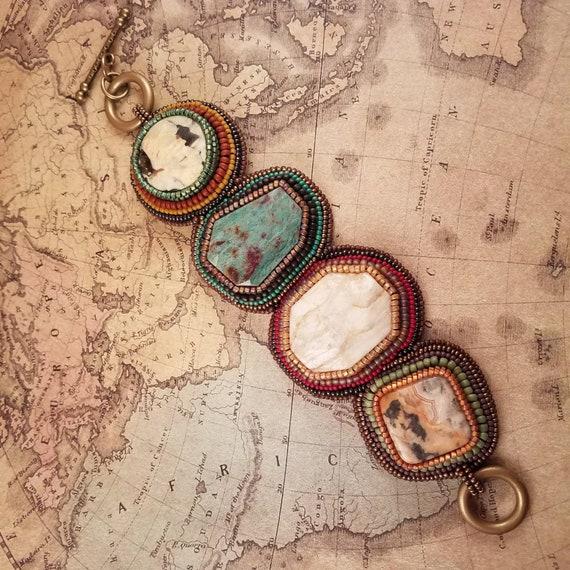 Chunky Mixed Stone Bracelet, Colorful Beaded Cuff, Big Boho Bracelet