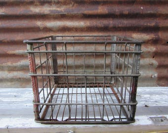 Vintage Wire Basket Milk Bottle Crate Box Turners Dairy Industrial Home Decor Storage Display Rusted Old Fashion Wire Bin Crate Metal Decor