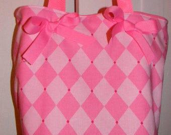 Pink Classic Jester Diamond Argyle  BAG Purse -Tote or Diaperbag