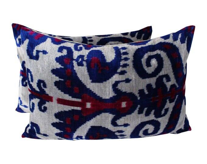Set of 2 Silk Velvet Ikat Pillow Covers Lp411s, Bohemian pillow, Velvet Ikat Pillow, Velvet Pillow, Velvet Pillow Cover, Ikat Pillows