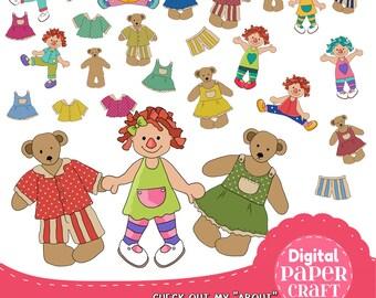 Teddy Clipart, Doll Clipart, Bear Clipart, Rag doll clipart, Childrens clipart, Clipart, Handrawn Clipart, Nursery clipart,