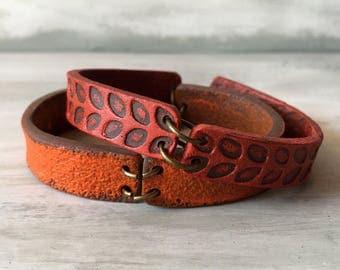 Boho Cuff Bracelet, Red and Orange, Cold Porcelain, Colourful Bracelet