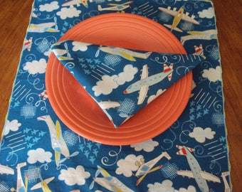 Childrens napkins, lunch box napkins, Airplanes napkins, dinner napkins,