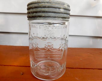 Vintage Canadian Crown Mason Clear Canning Jar, Authentic Rare Pint Canadian Jar with Zinc Lid & Crown Glass Insert, Circa Early 1932