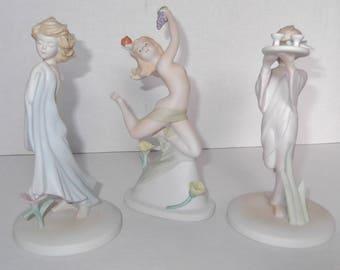 Vintage Edna Hibel Signed Porcelain Figurines ArtDeco Style Figurines Set Of Three Porcelain Collectibles From 1986