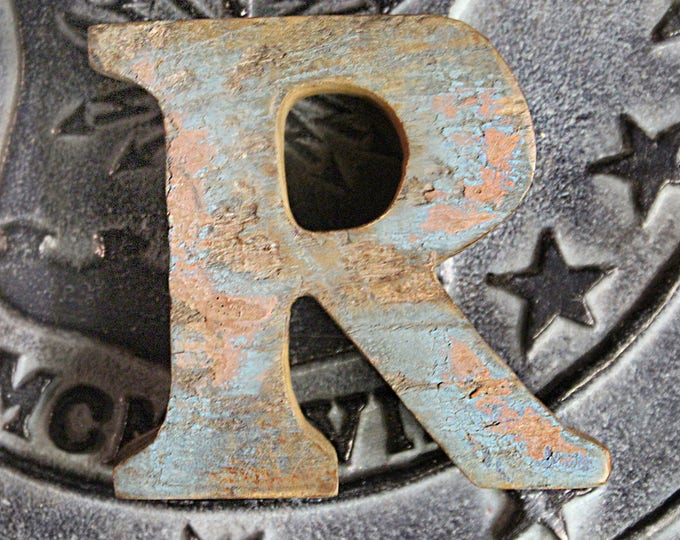 Beach Decor  Letter R Vintage Style Nautical Wooden by SEASTYLE