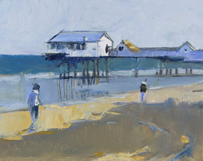 "Beach Decor  ""Pier"" Original Oil Painting by Bo Kravchenko for SEASTYLE"