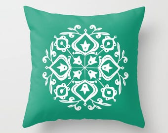 36 colours, Emerald Green, Persian Glaze Pillow, Folk Motif, Flower Pattern, Floral Design, Faux Down Insert, Indoor or Outdoor options