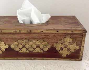 Decorative box - wooden box - Tissue Cover box - Vintage Decor - Tissue - wood home Decor - wood - brass - vintage bathroom