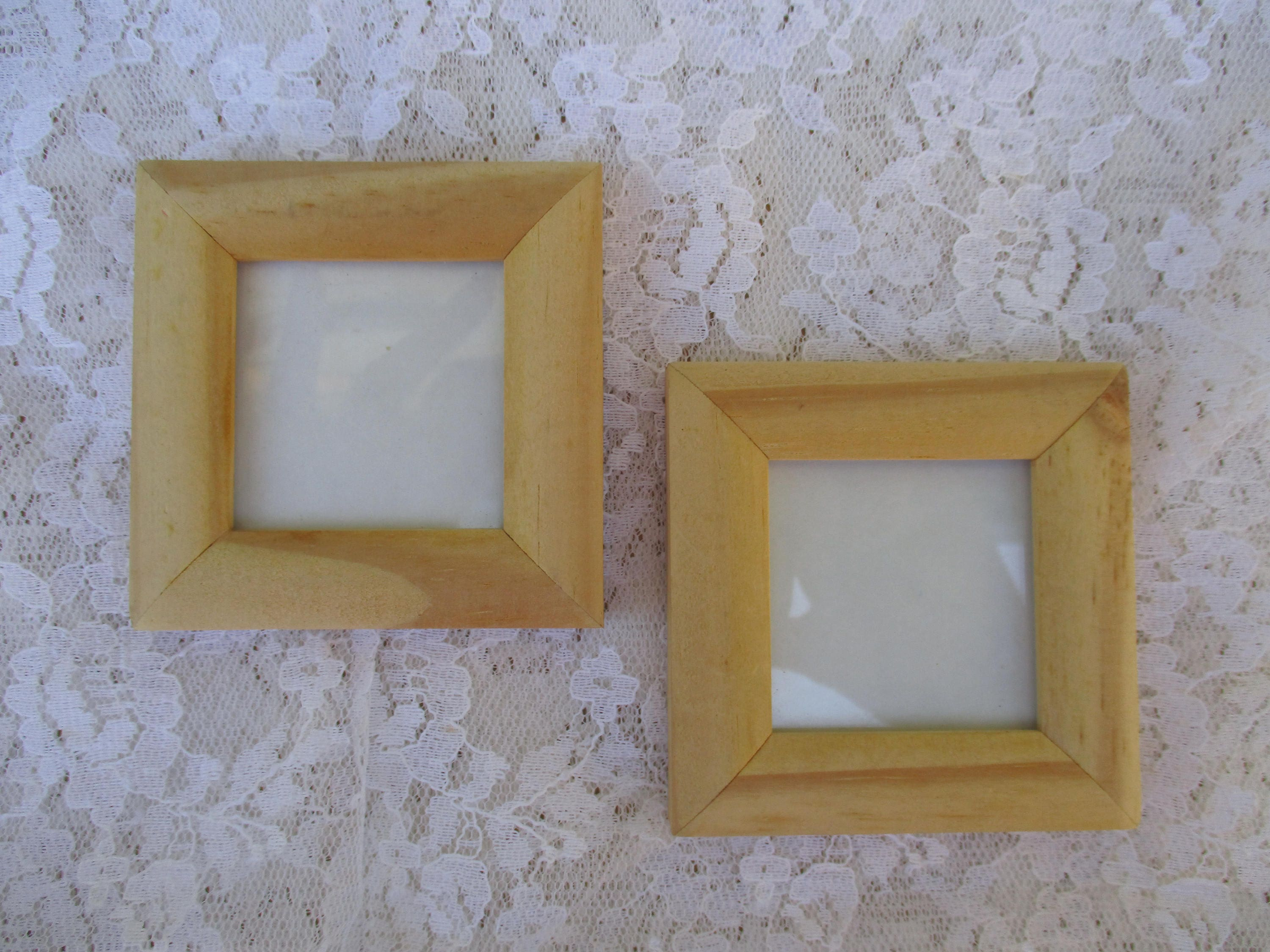 Wood Miniature Frames Set of 2 Small Size 2-3/4\