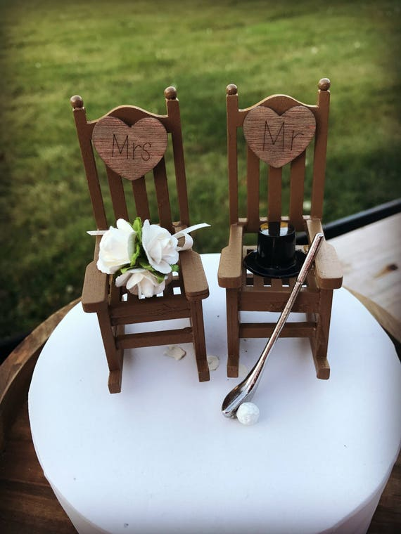 Golf Wedding Rustic Cake Toppers Topper Cabin Chairs Rocking Chair