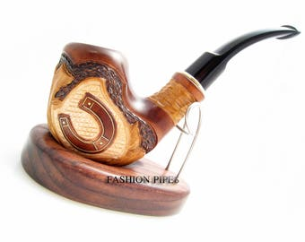 """Set - Tobacco Pipe """"Horseshoe Inlaid"""" Handcrafted Smoking Wooden Pipes & POUCH"""" Exclusive Wood Pipes Tobacciana pipe"""