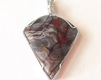 Silver pendant, Gemstone pendant, Fantasy Jasper pendant, Designer pendant