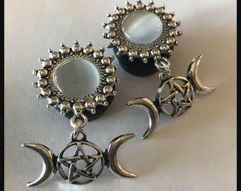 PICK SIZE Silver Goddess crescent moon pentacle  Ear Gauge Plug  Girly Dangle Plugs