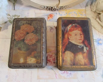 Vintage French country set of two fabulous old storage tins / cannisters.