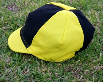 Bright Yellow and Black Cycling Cap
