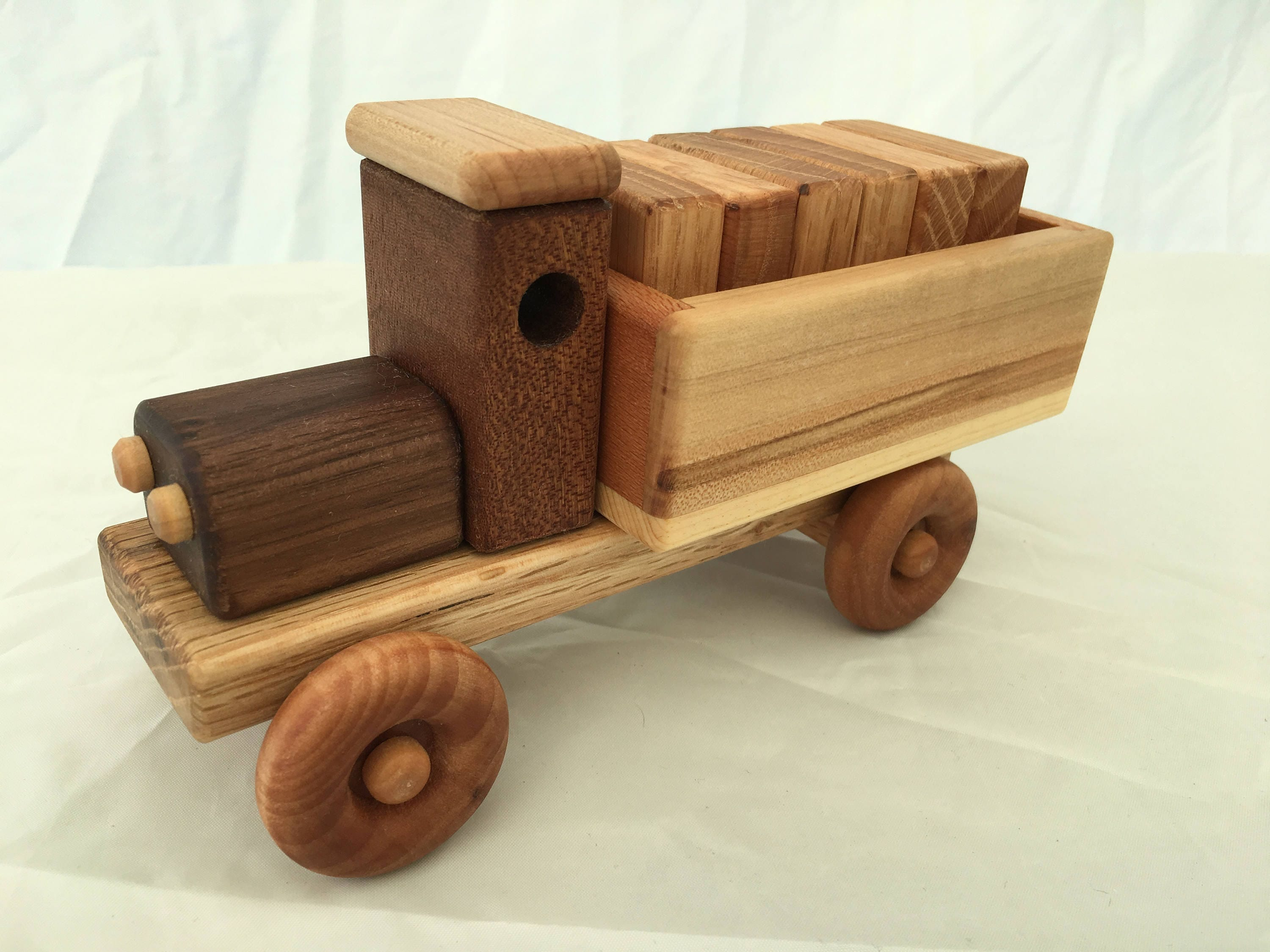 Handmade Wooden Toy Cargo Truck w Plain Blocks