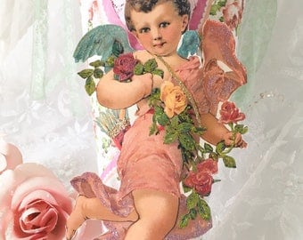 Shabby Pink Tussie Mussie, Valentine's Day, Candy Cone, Gift Holder, Victorian Cupid, Angel, Cherub Ornament, shabby cottage chic, fanny pip