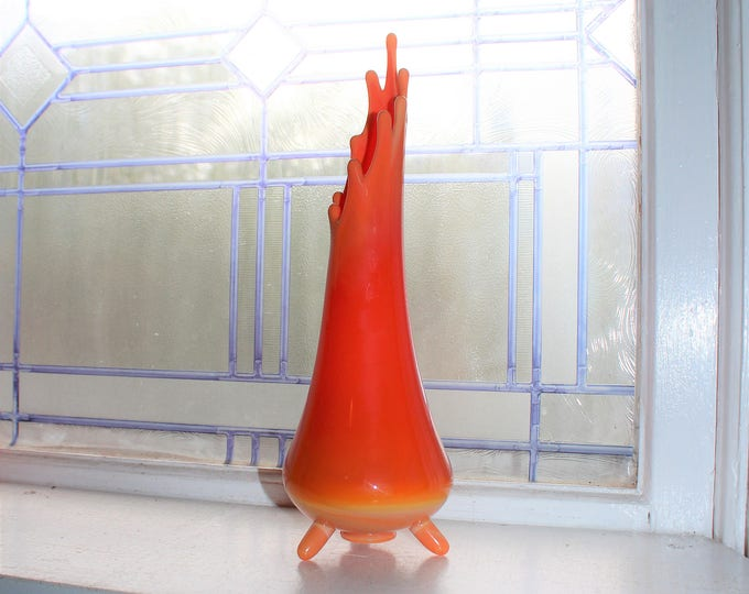 "Orange Slag Glass Vase 12"" Vintage Mid Century Swung Glass Footed"