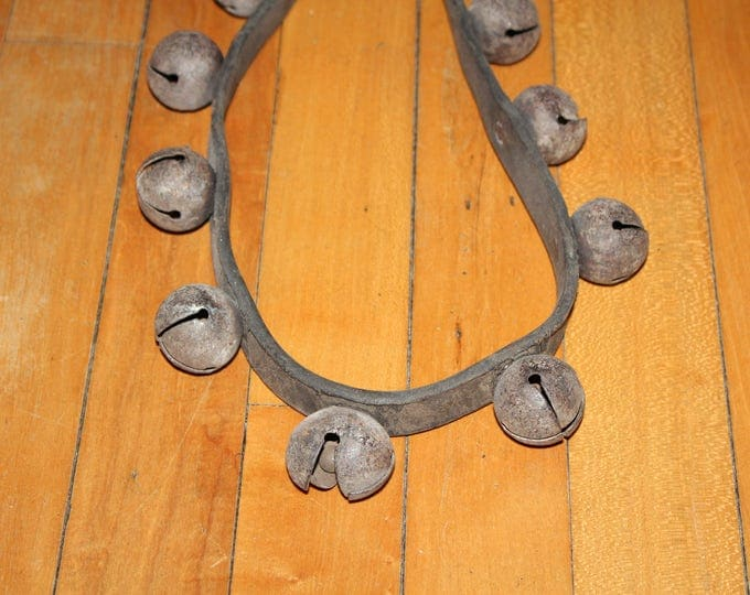 29 Antique Sleigh Bells on Leather Strap Rustic 1800s Farmhouse Decor