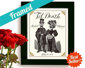 Skeleton Wedding Gift for Couples, Halloween Wedding, Personalized Art Print Day of the Dead Tattoo Couple Dia de los Muertos