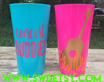 17 Concert Cups /Bachelorette Party Tumblers / Vacation Cups /Customizable Plastic Party Cups /Bridesmaids / Girls Trip / Music Festival Cup