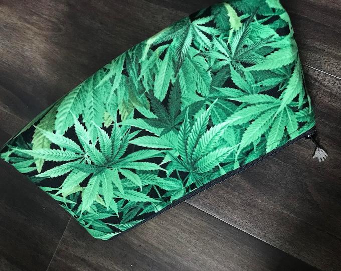 Handmade Marijuana Leaf Makeup Pouch