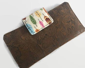 Checkbook Cover, Checkbook, Fabric Checkbook Cover, Checkbook Holder,  Organizer, Check book case, Checks, Feathers