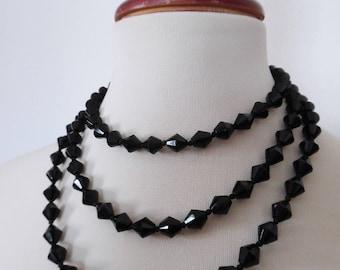 SALE :)) BRILLANCE NOIRE . Art Deco Czech Glass Faceted Beads Very Long Jet Black Necklace 20s 30s Celluloid Clasp