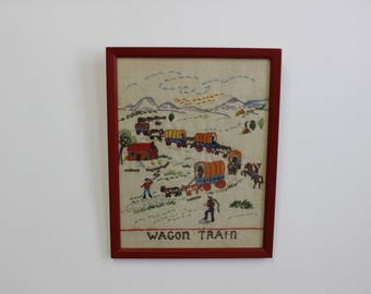 Mid Century Modern, beautiful vintage small needlepoint, wall decor, Wagon train